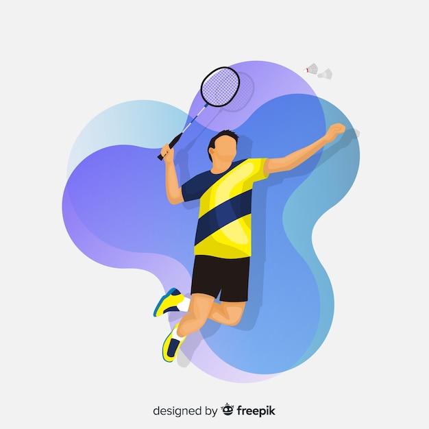 Badmintonista Z Rakietą I Piórkiem Darmowych Wektorów