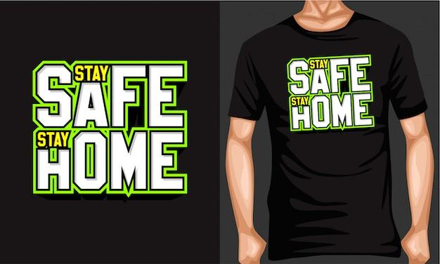 Bądź Bezpieczny Zostań W Domu Napis Typografia Premium Wektorów