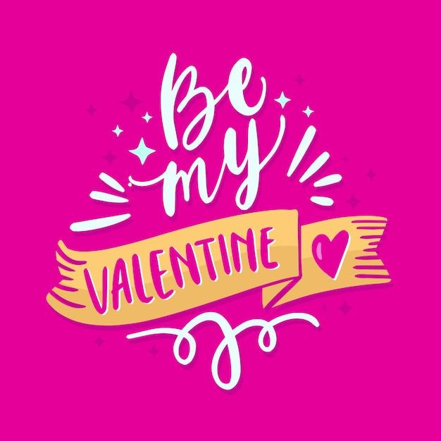 Bądź Moim Walentynkowym Romantycznym Napisem Darmowych Wektorów