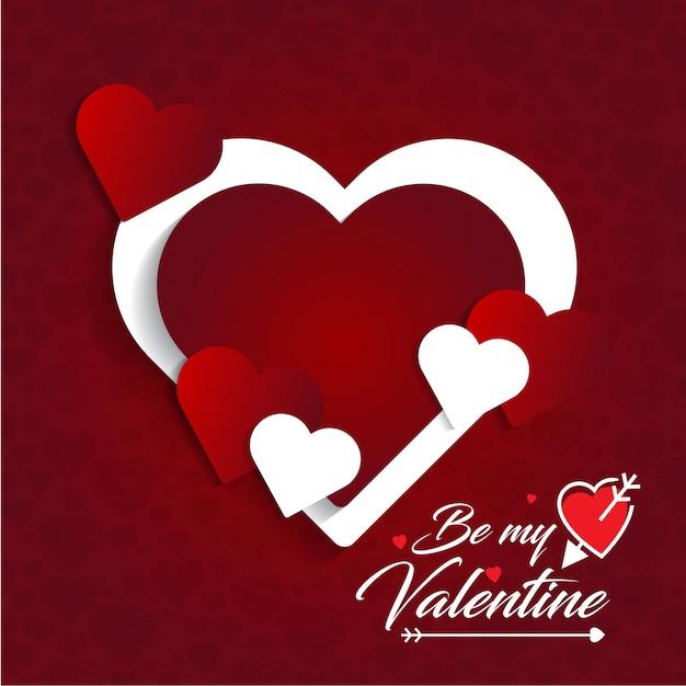 Bądź Moją Kartą Walentynkową Z Czerwonym Wzorem W Tle Darmowych Wektorów