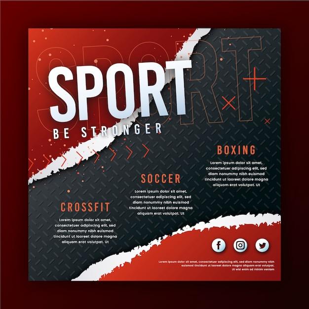 Bądź silniejszym sportowym szablonem ulotki Darmowych Wektorów