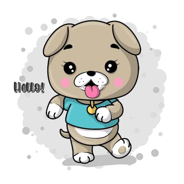 Bądź Szczęśliwy Kartkę Z życzeniami Z Cute Cartoon Szczeniaka Premium Wektorów