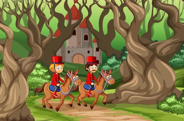 Bajkowa Scena Z Zamkiem I żołnierzem Gwardii Królewskiej W Scenie Leśnej Premium Wektorów