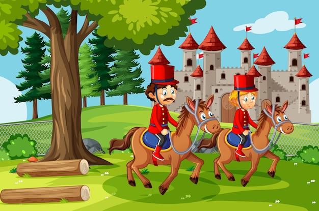 Bajkowa Scena Ze Sceną Zamku I żołnierza Gwardii Królewskiej Darmowych Wektorów