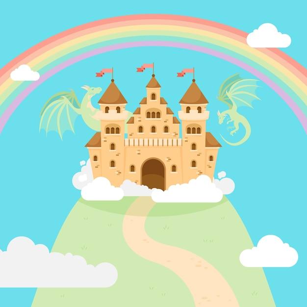 Bajkowy Magiczny Zamek Na Wzgórzu Darmowych Wektorów