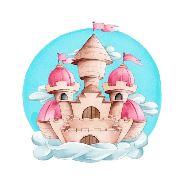Bajkowy Zamek W Stylu Przypominającym Akwarele Darmowych Wektorów