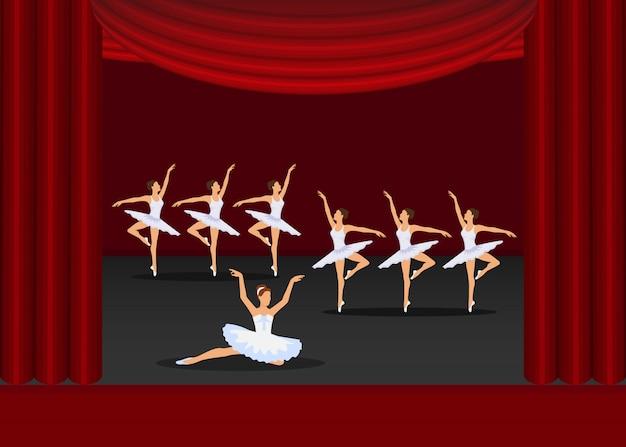 Baletniczego Przedstawienia Dancingowych Dziewczyn Artyści Na Czerwonych Zasłonach Sceny Ilustracja. Premium Wektorów