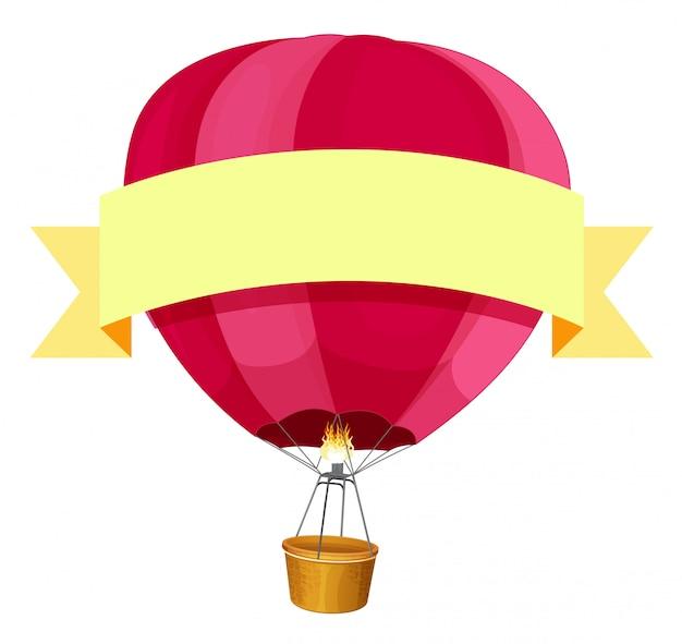 Balon czerwony hotair i żółta wstążka Darmowych Wektorów