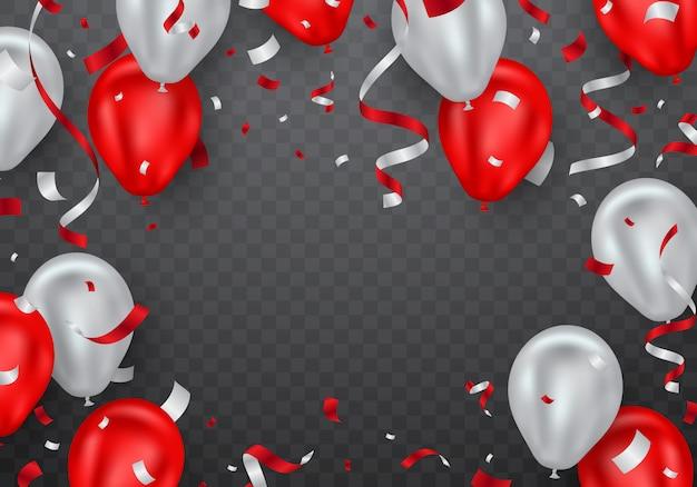 Balon czerwony i rama konfetti Premium Wektorów