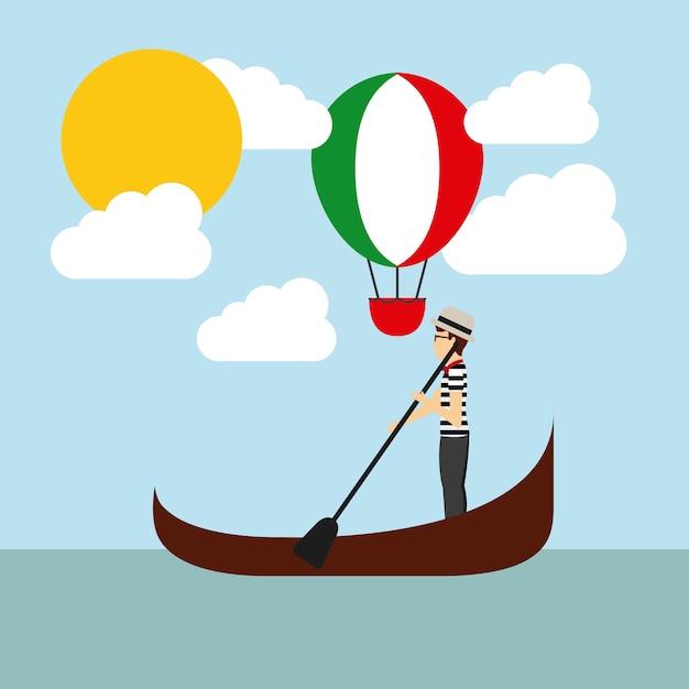 Balon Na Gorące Powietrze I Ikona Catoon. Projekt Kultury Włoskiej. Wektor Gr Premium Wektorów