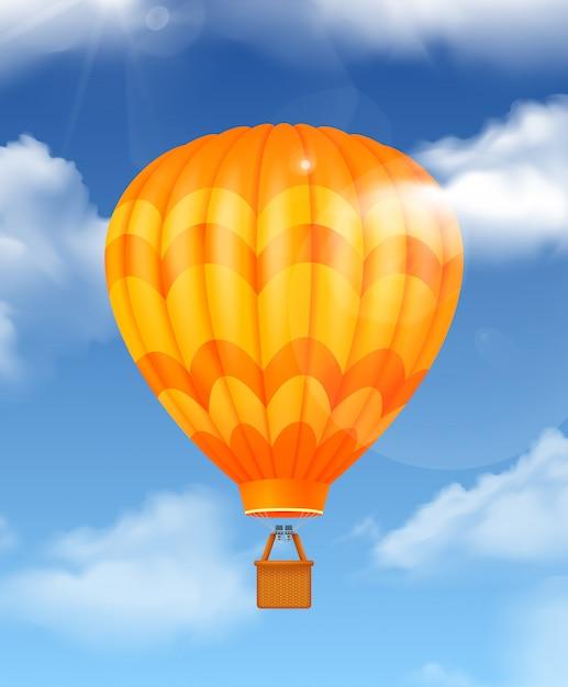 Balon Na Niebie Realistyczna Kompozycja Z Symbolami Podróży Lotniczych Darmowych Wektorów