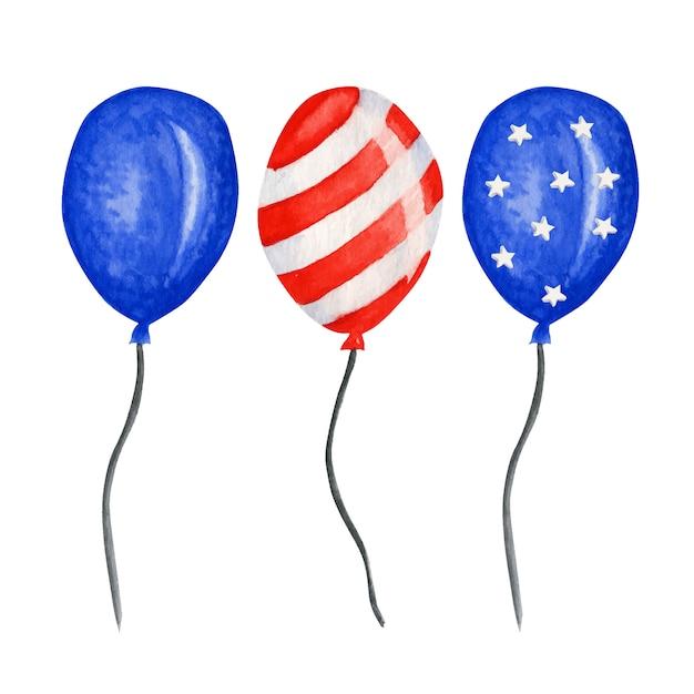 Balon Patriotyczny. Czwarty Lipca Ameryka święto Impreza Akwarela Dzień Niepodległości Dekoracji Usa. Niebieskie Czerwone Gwiazdki Paskują Amerykańskie Flagi W Rodzaju Balonów Premium Wektorów