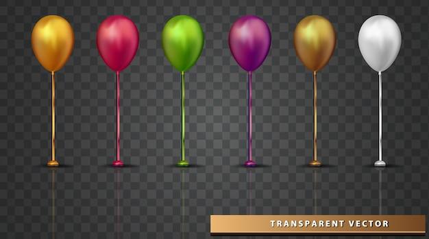 Balon Przezroczyste Tło Element Wakacyjny Projekt Realistyczny Kolorowy Balon Darmowych Wektorów