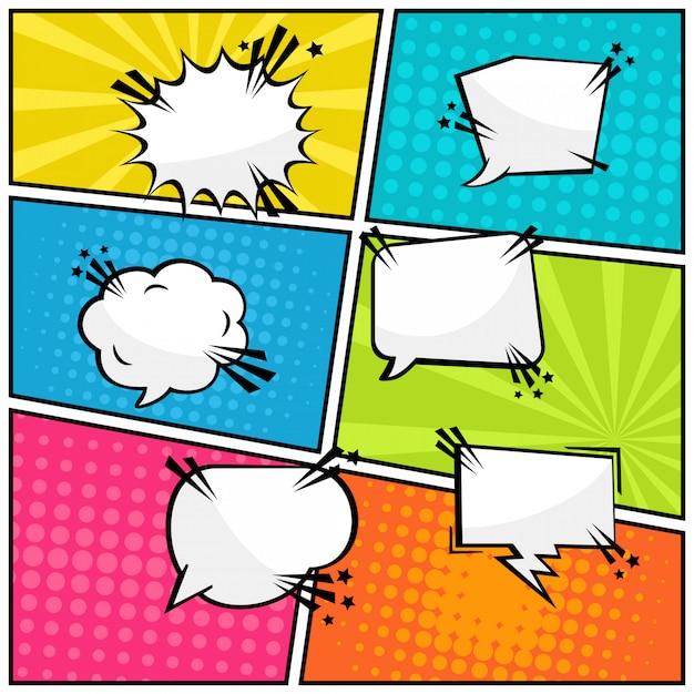 Balon Tekst Komiks Puste Pop-artu Premium Wektorów