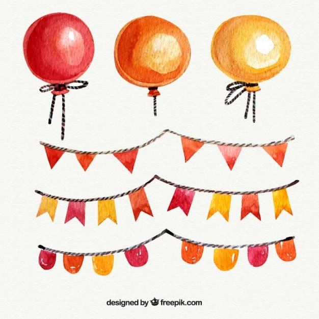 Balony Akwarela Girlandami Darmowych Wektorów