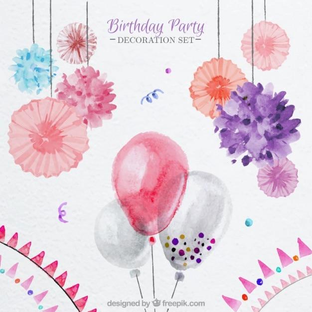 balony akwarelowe i kwiatowej dekoracji na urodziny Darmowych Wektorów