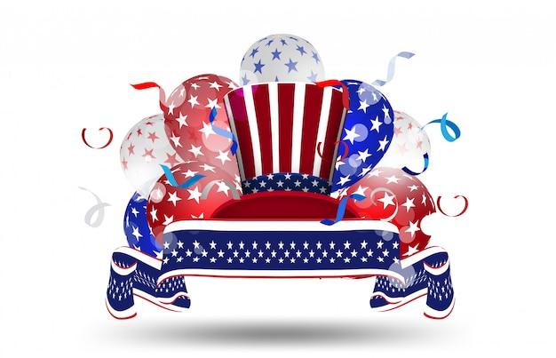 Balony Amerykańskie Flaga Wystrój 4 Lipca Uroczystości Dzień Niepodległości Sprzedaż Promocja Banner Zakupy Online Premium Wektorów