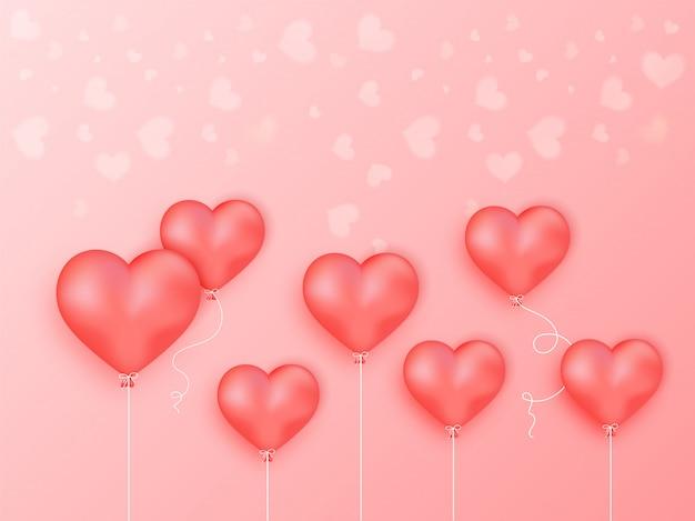 Balony Błyszczący Serce Na Jasnoczerwonym Tle. Premium Wektorów