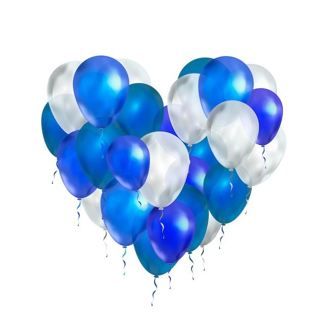 Balony Luksusowe W Kolorach Niebieskim I Białym W Kształcie Serca Na Białym Tle Premium Wektorów