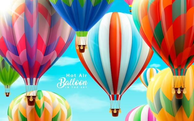 Balony Na Ogrzane Powietrze Na Niebie, Kolorowe Balony Do Zastosowań W Ilustracji Z Jasnego Nieba Premium Wektorów