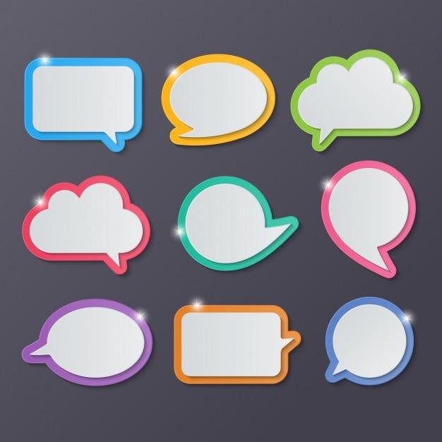 Balony tekstowe o różnych kształtach Darmowych Wektorów