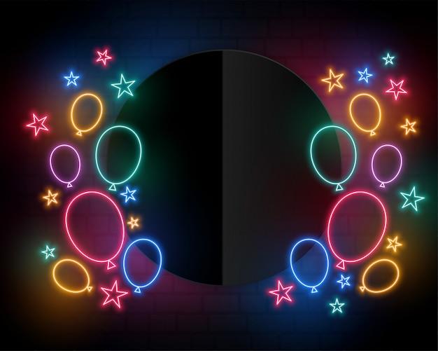 Balony Urodziny Uroczystości W Stylu Neon I Miejsca Na Tekst Darmowych Wektorów