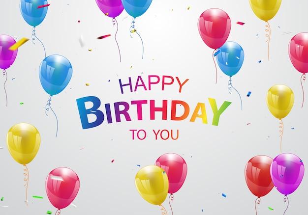 Balony Z Okazji Urodzin Premium Wektorów