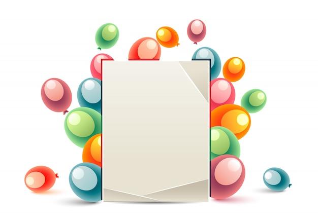 Balony z wiadomościami urodzinowymi Premium Wektorów