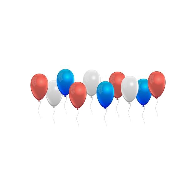 Balony zestaw czerwony niebieski, biały i szary Premium Wektorów