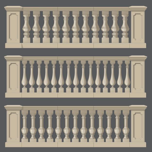 Balustrada na elementy zewnętrzne i parkowe Premium Wektorów