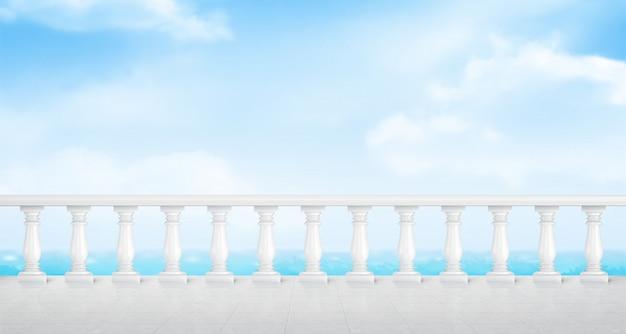Balustrada Z Białego Marmuru Na Balkonie Lub Nad Brzegiem Morza Darmowych Wektorów