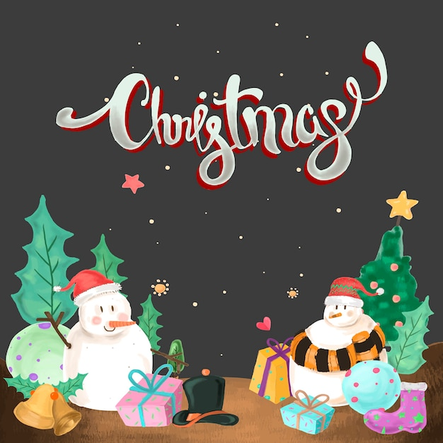 Bałwan W Noc Bożego Narodzenia Darmowych Wektorów