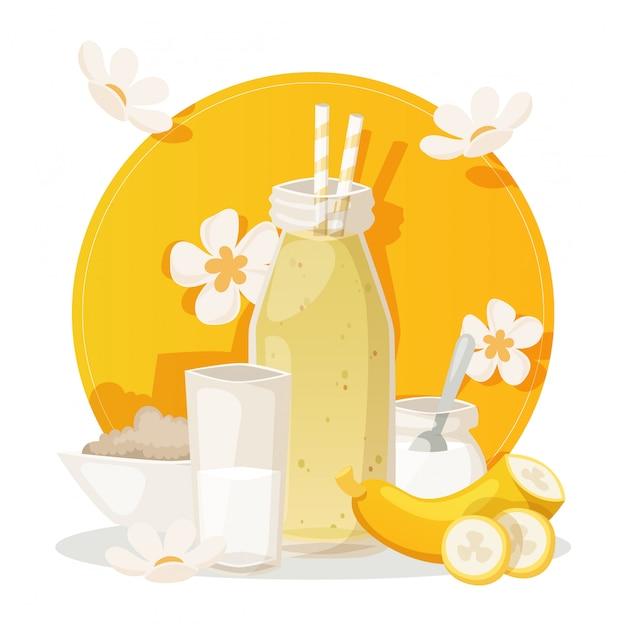 Bananowy Smoothie, Składniki Dla świeżego Zdrowego Napoju, Ilustracja Premium Wektorów