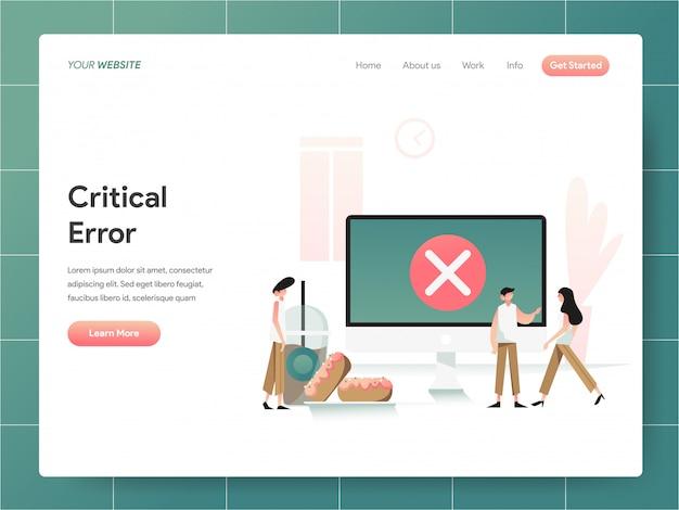 Baner błędu krytycznego komputera strony docelowej concept Premium Wektorów