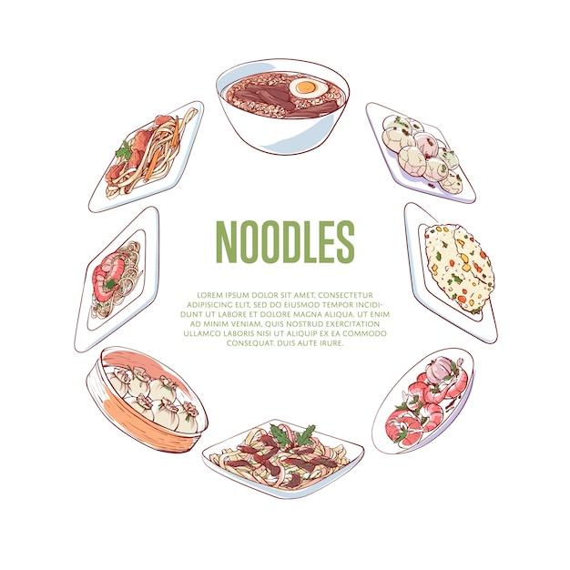 Baner chiński makaron z azjatyckimi potrawami Premium Wektorów