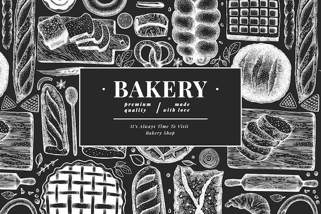 Baner chleba i ciasta. piekarnia ilustracja na tablicy kredą. vintage szablon. Premium Wektorów