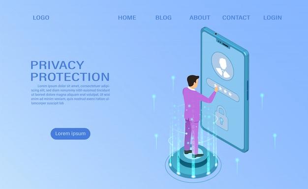 Baner chroni dane i poufność na urządzeniach mobilnych. ochrona prywatności i bezpieczeństwo Premium Wektorów