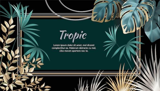 Baner ciemne liście egzotycznych roślin tropikalnych. Premium Wektorów