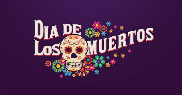 Baner dia de los muertos, czaszka cukru z typografią i kwiatami Premium Wektorów