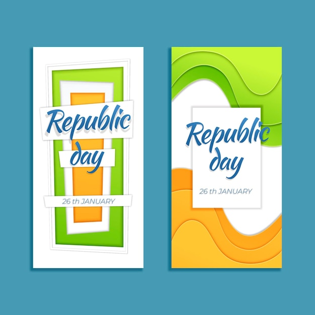 Baner Dnia Republiki W Stylu Papierowym Darmowych Wektorów
