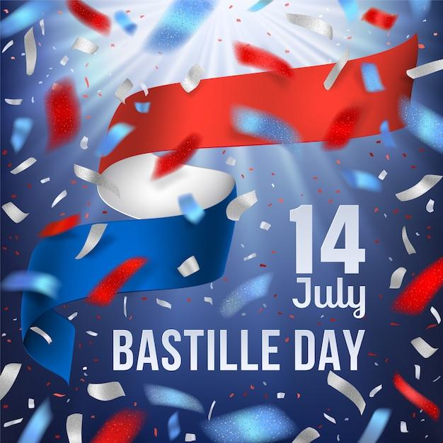 Baner Dzień Bastylii Z Flagi Narodowej Francji I Konfetti Premium Wektorów