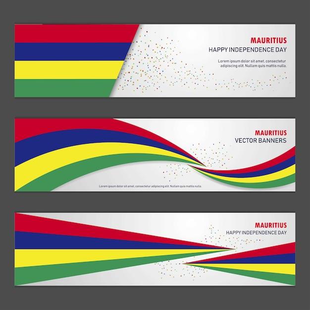 Baner Dzień Niepodległości Mauritiusa Darmowych Wektorów