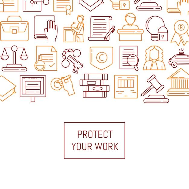 Baner i plakat z liniowymi elementami praw autorskich Premium Wektorów
