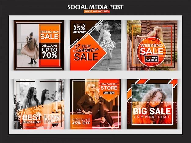 Baner instagram mody dla marketingu cyfrowego Premium Wektorów