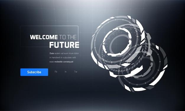 Baner Interfejsu Hud 3d Futurystycznej Technologii Premium Wektorów