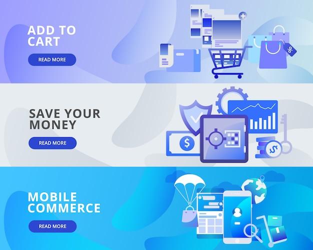 Baner Internetowy: Dodaj Do Koszyka, Oszczędzaj Pieniądze, Handel Mobilny Premium Wektorów