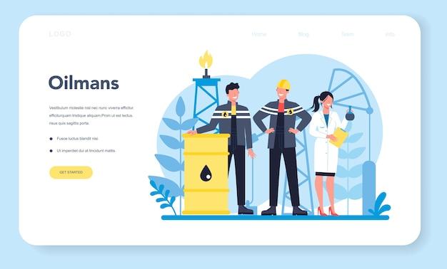 Baner Internetowy Lub Strona Docelowa Dla Przemysłu Naftowego I Naftowego Premium Wektorów
