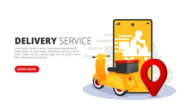 Baner Internetowy Usługi Dostawy Online. Aplikacja Mobilna Do Dostawy Ilustracji Wektorowych. Premium Wektorów