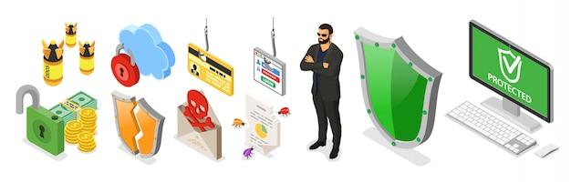 Baner Izometryczny Bezpieczeństwa Cybernetycznego. Hacking I Phishing. Guard Chroni Komputer Przed Atakami Hakerów, Takimi Jak Kradzież Hasła, Karty Kredytowej I Spamu. Internet Security Wektor Z Izometrycznymi Ikonami Ludzi Premium Wektorów