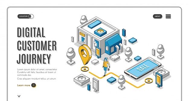 Baner izometryczny mapa podróży klienta Darmowych Wektorów